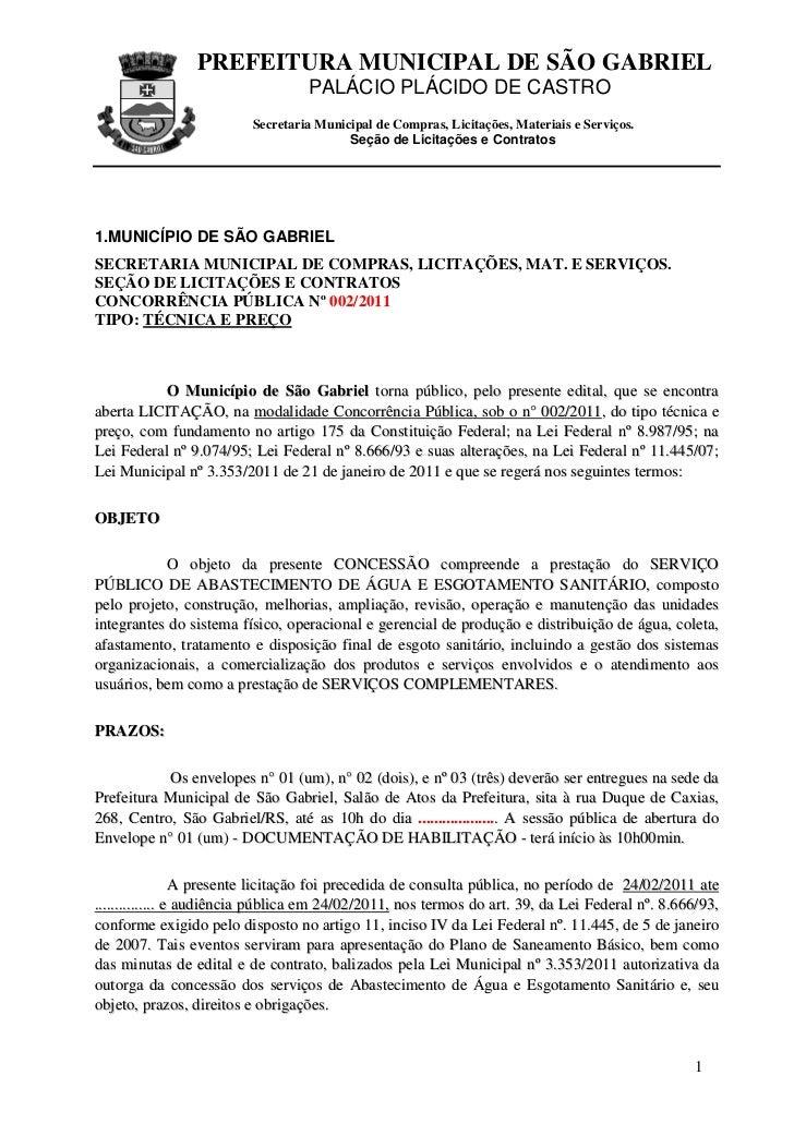 PREFEITURA MUNICIPAL DE SÃO GABRIEL                                  PALÁCIO PLÁCIDO DE CASTRO                         Sec...