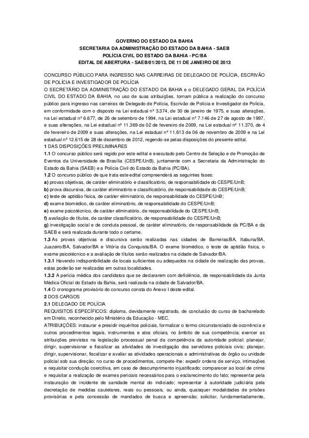 GOVERNO DO ESTADO DA BAHIA                 SECRETARIA DA ADMINISTRAÇÃO DO ESTADO DA BAHIA - SAEB                          ...