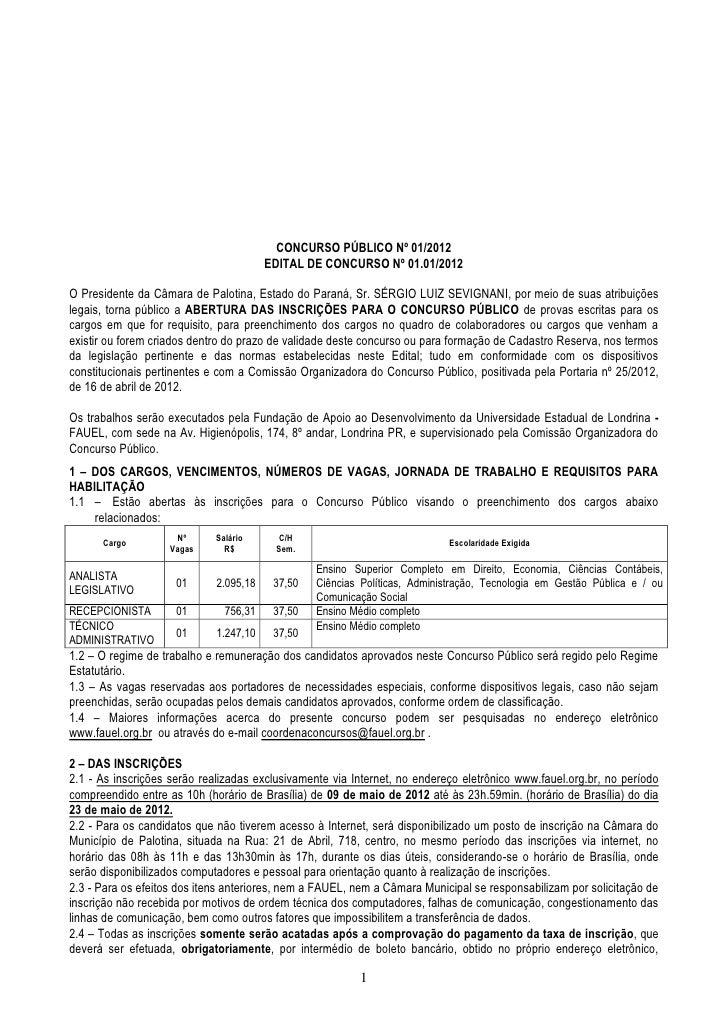 CONCURSO PÚBLICO Nº 01/2012                                        EDITAL DE CONCURSO Nº 01.01/2012O Presidente da Câmara ...