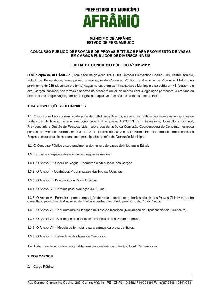 MUNICÍPIO DE AFRÂNIO                                          ESTADO DE PERNAMBUCO  CONCURSO PÚBLICO DE PROVAS E DE PROVAS...