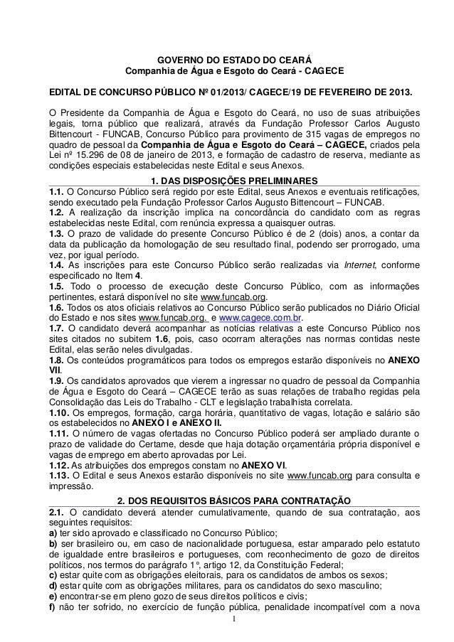 GOVERNO DO ESTADO DO CEARÁ                  Companhia de Água e Esgoto do Ceará - CAGECEEDITAL DE CONCURSO PÚBLICO Nº 01/2...
