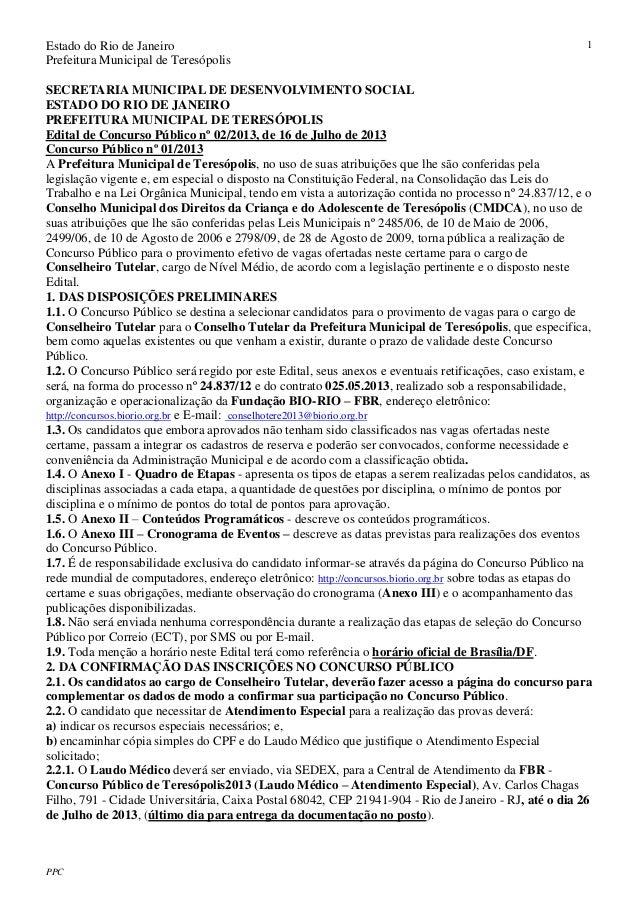 Estado do Rio de Janeiro Prefeitura Municipal de Teresópolis PPC 1 SECRETARIA MUNICIPAL DE DESENVOLVIMENTO SOCIAL ESTADO D...