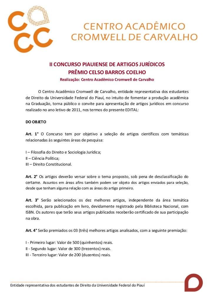 II CONCURSO PIAUIENSE DE ARTIGOS JURÍDICOS                            PRÊMIO CELSO BARROS COELHO                          ...