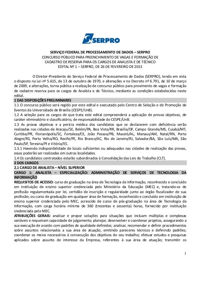 1 SERVIÇO FEDERAL DE PROCESSAMENTO DE DADOS – SERPRO CONCURSO PÚBLICO PARA PREENCHIMENTO DE VAGAS E FORMAÇÃO DE CADASTRO D...