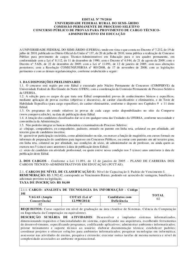 EDITAL Nº 79/2014 UNIVERSIDADE FEDERAL RURAL DO SEMI-ÁRIDO COMISSÃO PERMANENTE DE PROCESSO SELETIVO CONCURSO PÚBLICO DE PR...