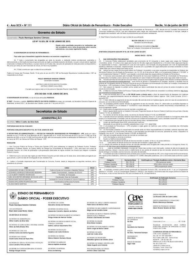 """4-AnOXCII-NEIII  Governo do Estado     Governador' Paulo Henrique Saraiva Câmara LEI N"""" 15.525, DE 15 DE JUNHO DE 2015.  D..."""
