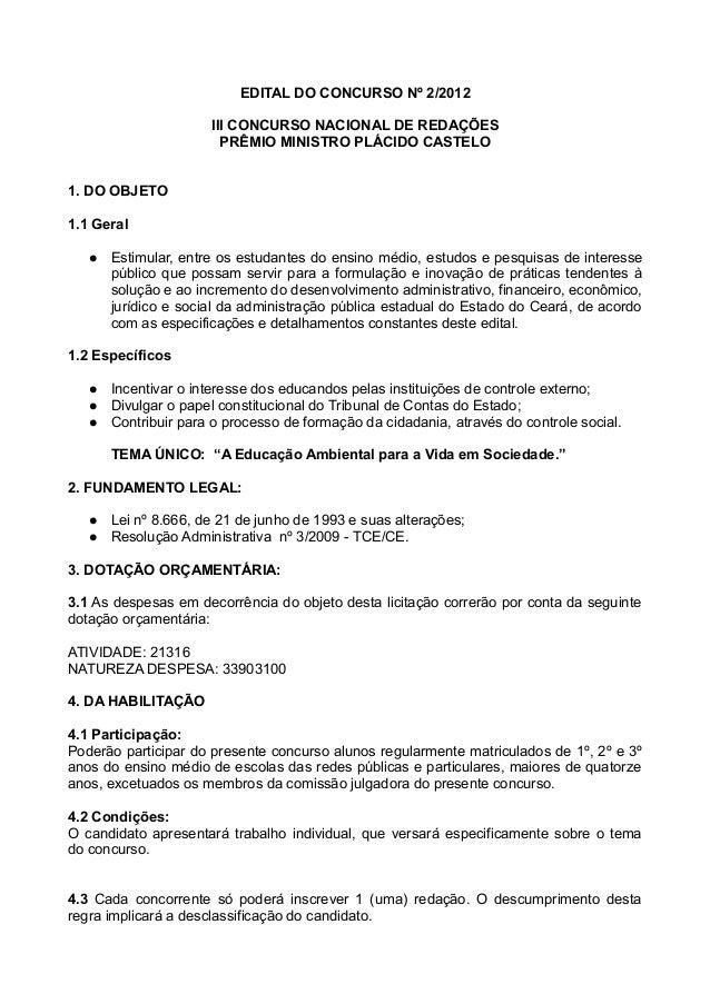 EDITAL DO CONCURSO Nº 2/2012                      III CONCURSO NACIONAL DE REDAÇÕES                        PRÊMIO MINISTRO...