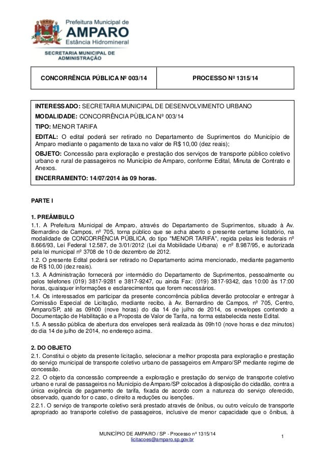 MUNICÍPIO DE AMPARO / SP - Processo nº 1315/14  licitacoes@amparo.sp.gov.br  1  CONCORRÊNCIA PÚBLICA Nº 003/14  PROCESSO N...