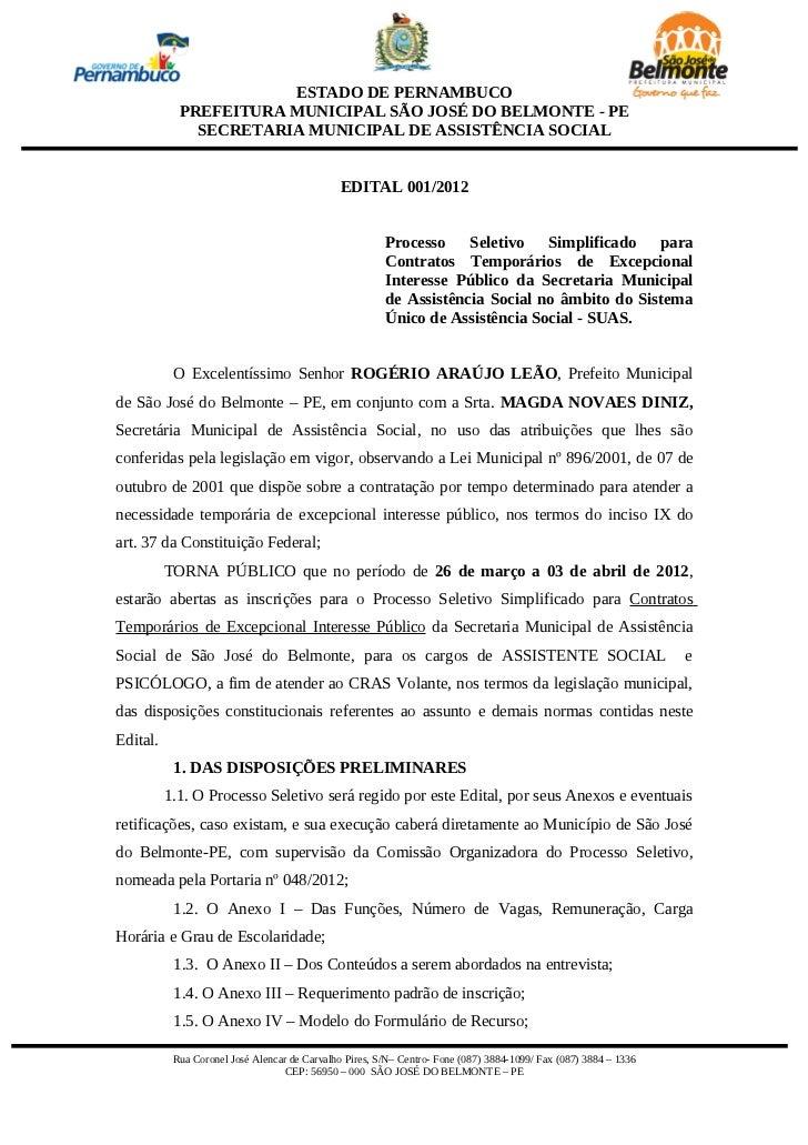ESTADO DE PERNAMBUCO            PREFEITURA MUNICIPAL SÃO JOSÉ DO BELMONTE - PE              SECRETARIA MUNICIPAL DE ASSIST...