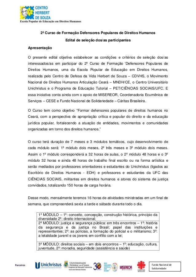 Fundo Nacional de Solidariedade 2º Curso de Formação Defensores Populares de Direitos Humanos Edital de seleção dos/as par...