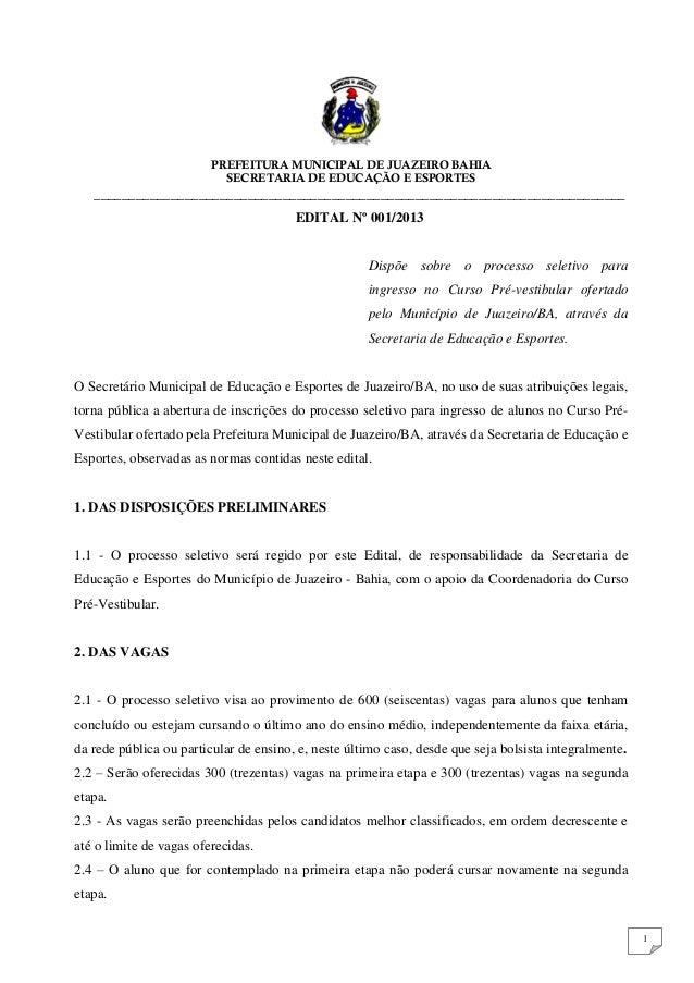 PREFEITURA MUNICIPAL DE JUAZEIRO BAHIA                           SECRETARIA DE EDUCAÇÃO E ESPORTES   _____________________...