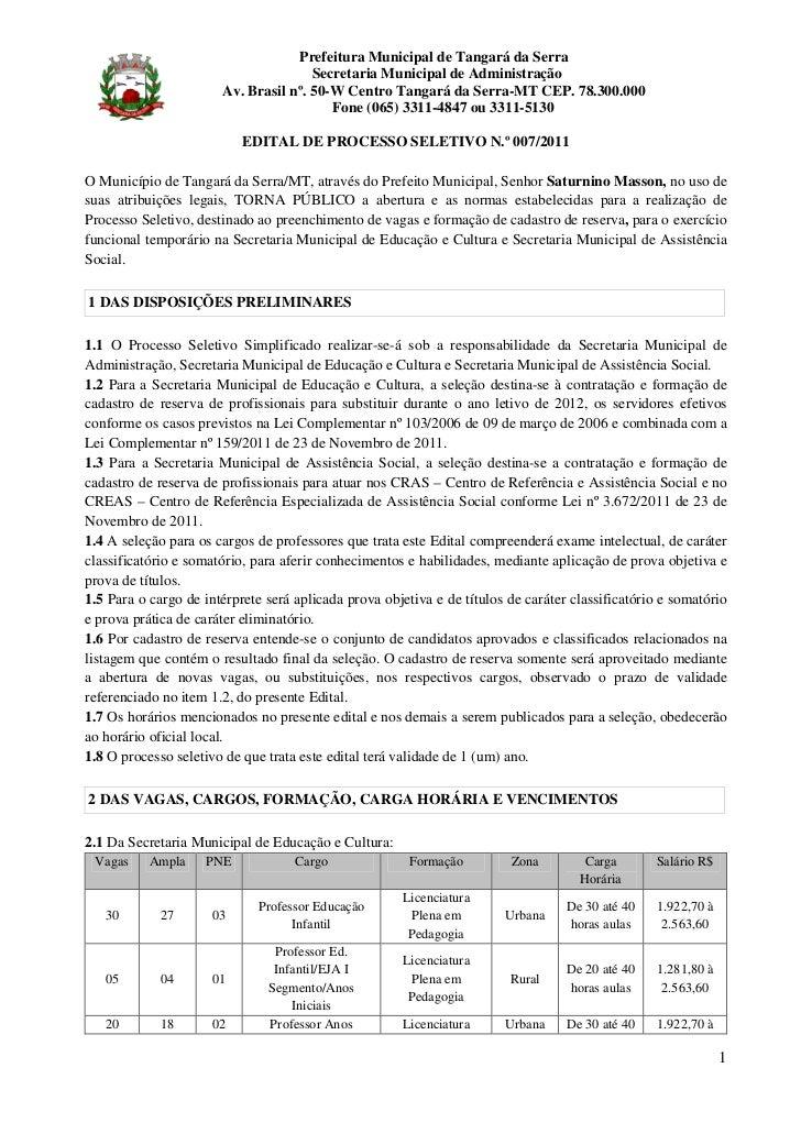 Prefeitura Municipal de Tangará da Serra                                      Secretaria Municipal de Administração       ...