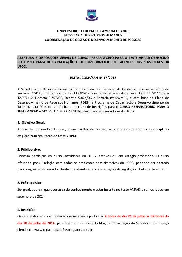 UNIVERSIDADE FEDERAL DE CAMPINA GRANDE SECRETARIA DE RECURSOS HUMANOS COORDENAÇÃO DE GESTÃO E DESENVOLVIMENTO DE PESSOAS A...