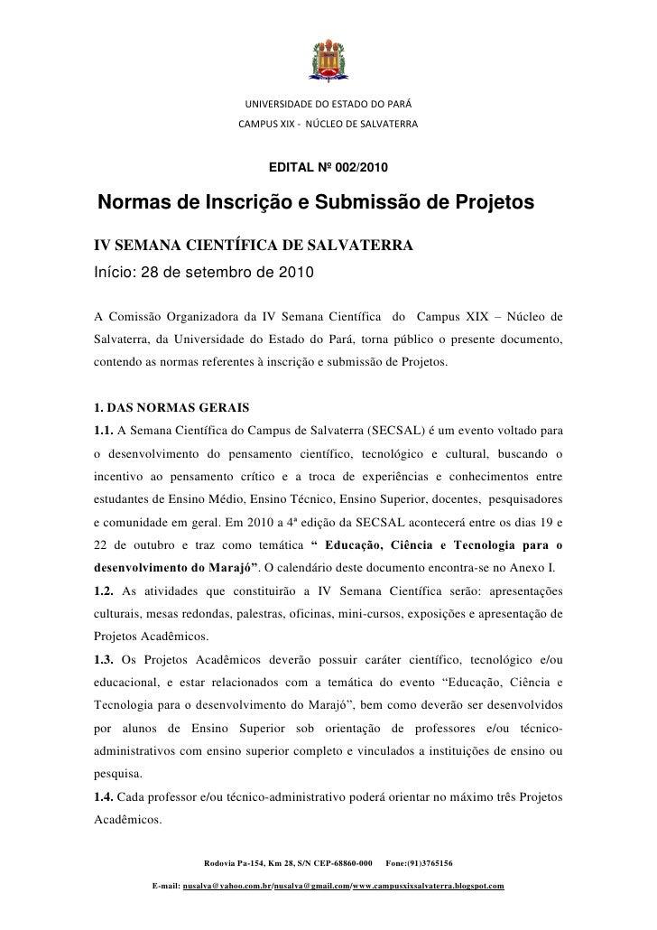 UNIVERSIDADE DO ESTADO DO PARÁ                                 CAMPUS XIX - NÚCLEO DE SALVATERRA                          ...