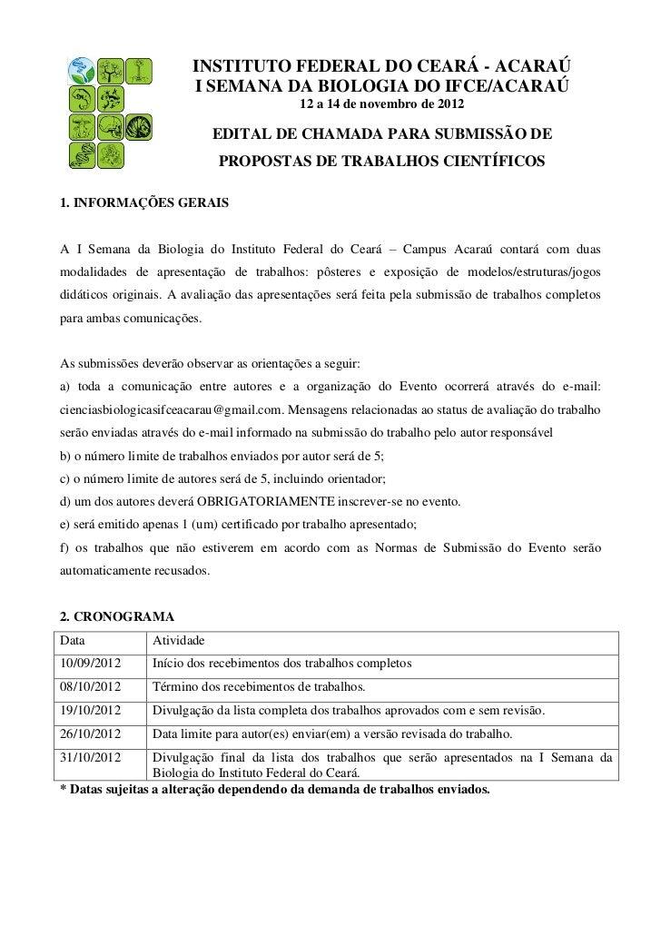 INSTITUTO FEDERAL DO CEARÁ - ACARAÚ                         I SEMANA DA BIOLOGIA DO IFCE/ACARAÚ                           ...