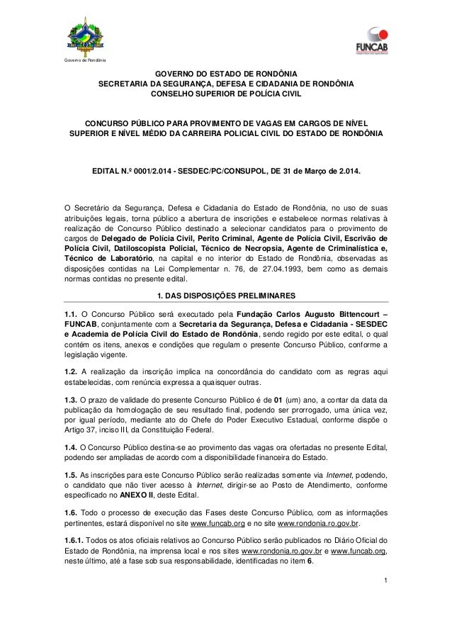 Governo de Rondônia 1 GOVERNO DO ESTADO DE RONDÔNIA SECRETARIA DA SEGURANÇA, DEFESA E CIDADANIA DE RONDÔNIA CONSELHO SUPER...