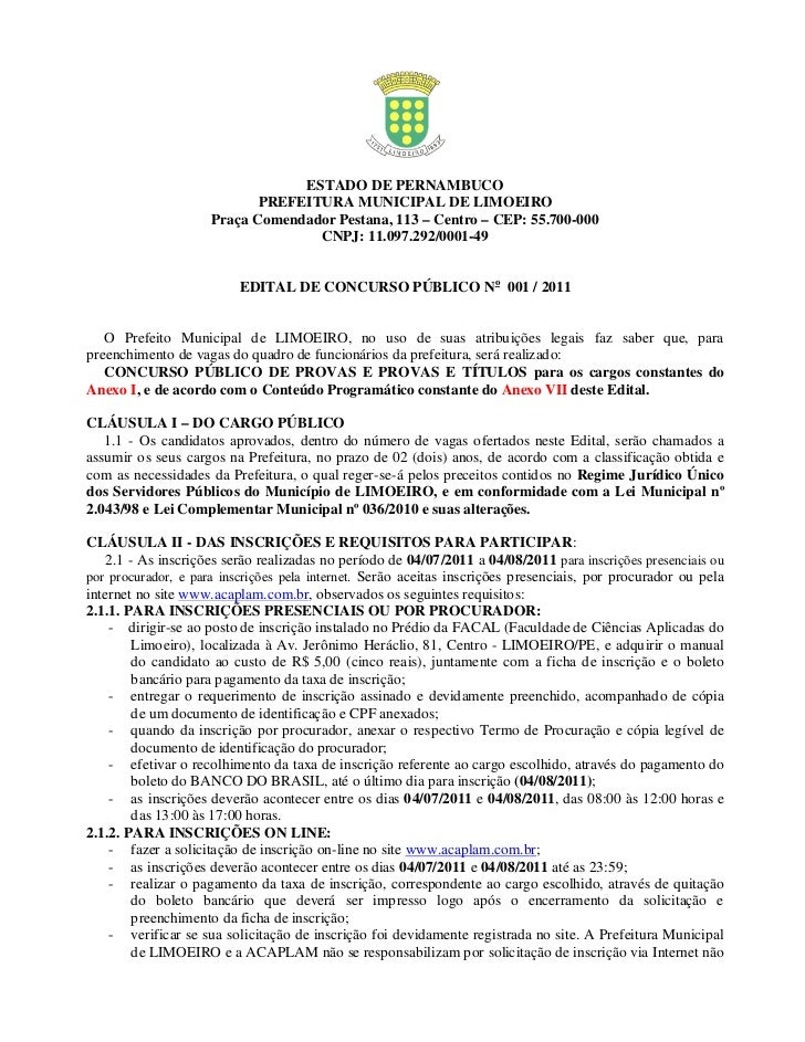 ESTADO DE PERNAMBUCO                            PREFEITURA MUNICIPAL DE LIMOEIRO                     Praça Comendador Pest...