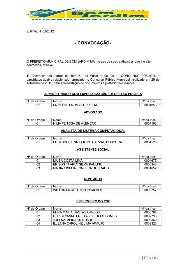 EDITAL Nº 02/2012                                - CONVOCAÇÃO-O PREFEITO MUNICIPAL DE BOM JARDIM-MA, no uso de suas atribu...