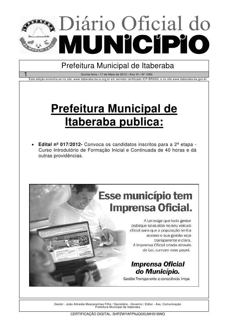 Prefeitura Municipal de Itaberaba1                                        Quinta-feira • 17 de Maio de 2012 • Ano VI • Nº ...