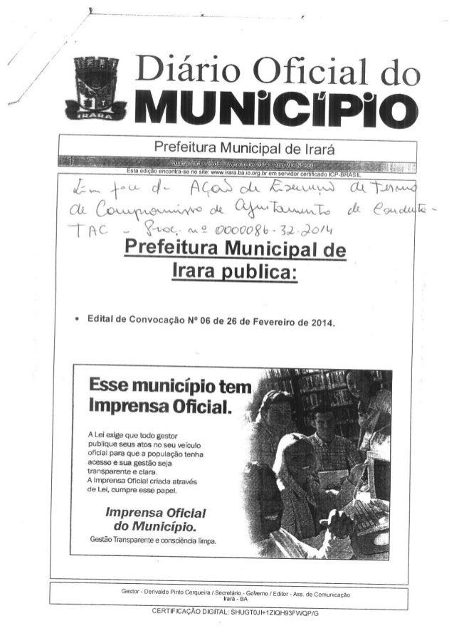 Edital de Convocação n.06  - 26.02.2014 - PREFEITURA DE IRARÁ