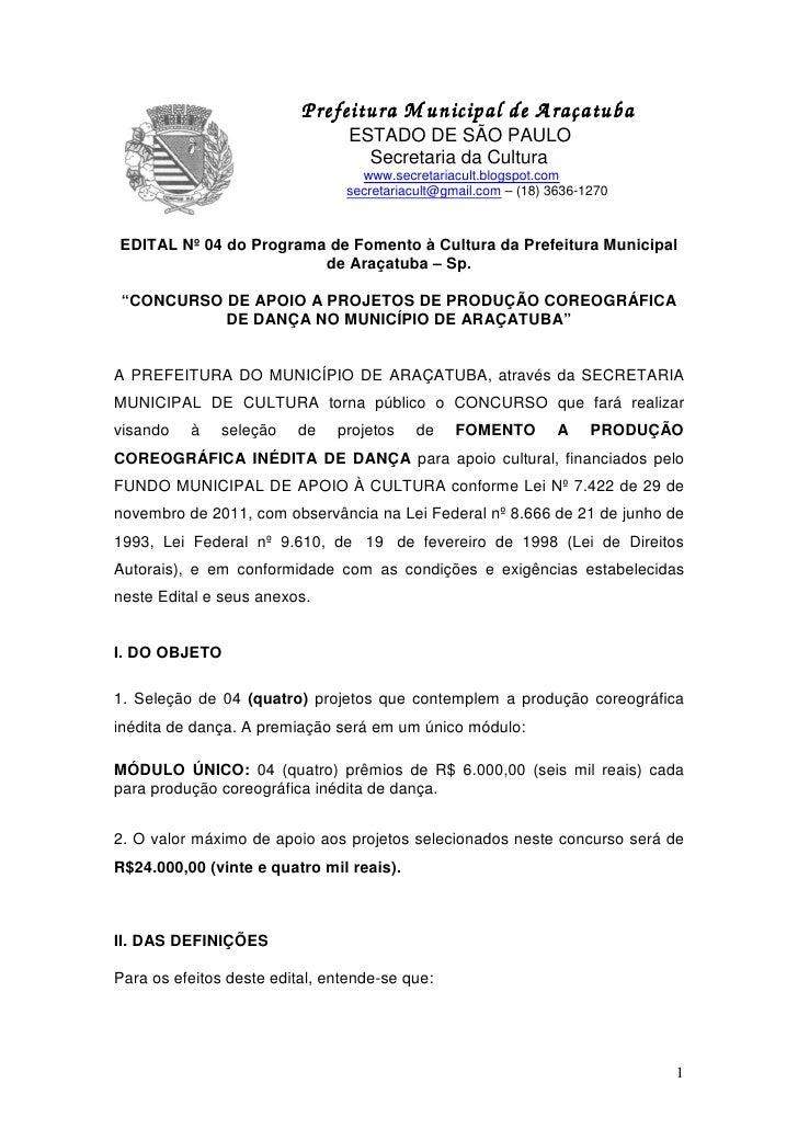 P                   Prefeitura M unicipal de A raçatuba                                 ESTADO DE SÃO PAULO               ...
