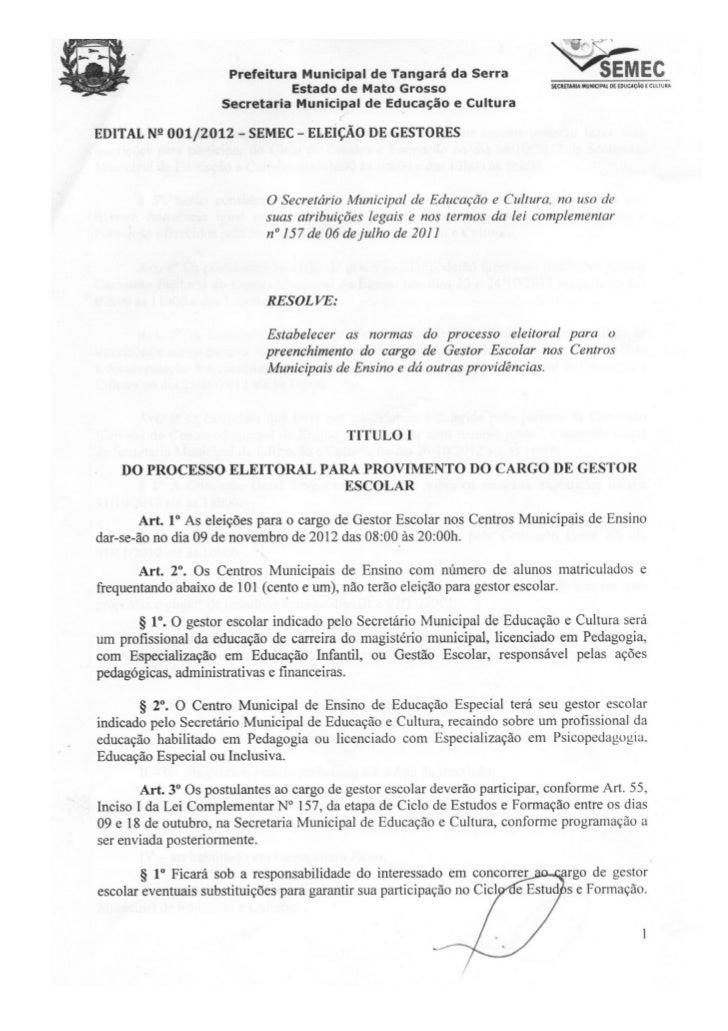 Edital de eleição de gestor 2012