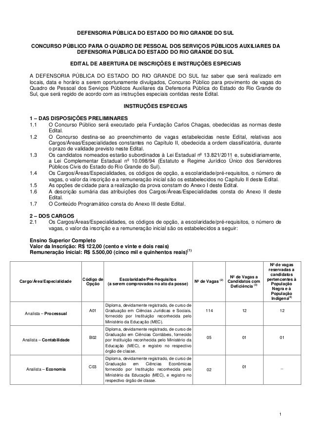 DEFENSORIA PÚBLICA DO ESTADO DO RIO GRANDE DO SUL     CONCURSO PÚBLICO PARA O QUADRO DE PESSOAL DOS SERVIÇOS PÚBLICOS AUXI...