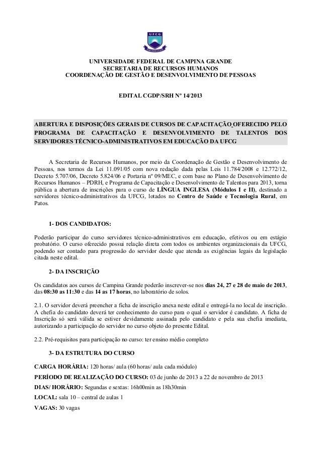 UNIVERSIDADE FEDERAL DE CAMPINA GRANDESECRETARIA DE RECURSOS HUMANOSCOORDENAÇÃO DE GESTÃO E DESENVOLVIMENTO DE PESSOASEDIT...