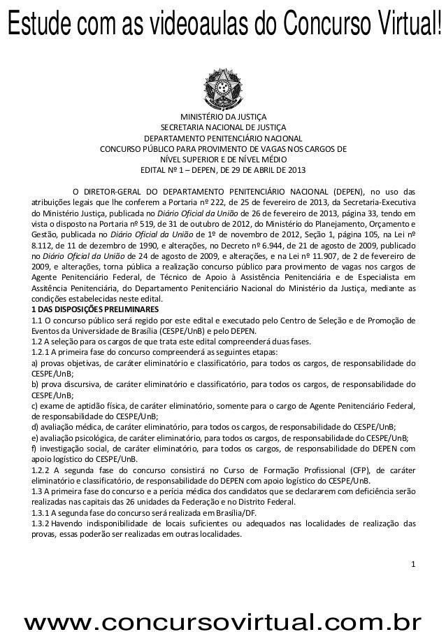 1MINISTÉRIO DA JUSTIÇASECRETARIA NACIONAL DE JUSTIÇADEPARTAMENTO PENITENCIÁRIO NACIONALCONCURSO PÚBLICO PARA PROVIMENTO DE...