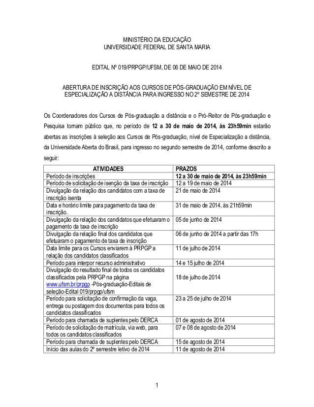 1 MINISTÉRIO DA EDUCAÇÃO UNIVERSIDADE FEDERAL DE SANTA MARIA EDITAL Nº 019/PRPGP/UFSM, DE 06 DE MAIO DE 2014 ABERTURA DE I...