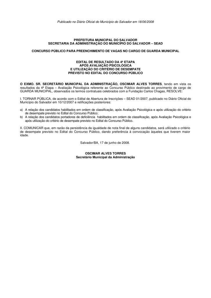 Publicado no Diário Oficial do Município do Salvador em 18/06/2008                                 PREFEITURA MUNICIPAL DO...
