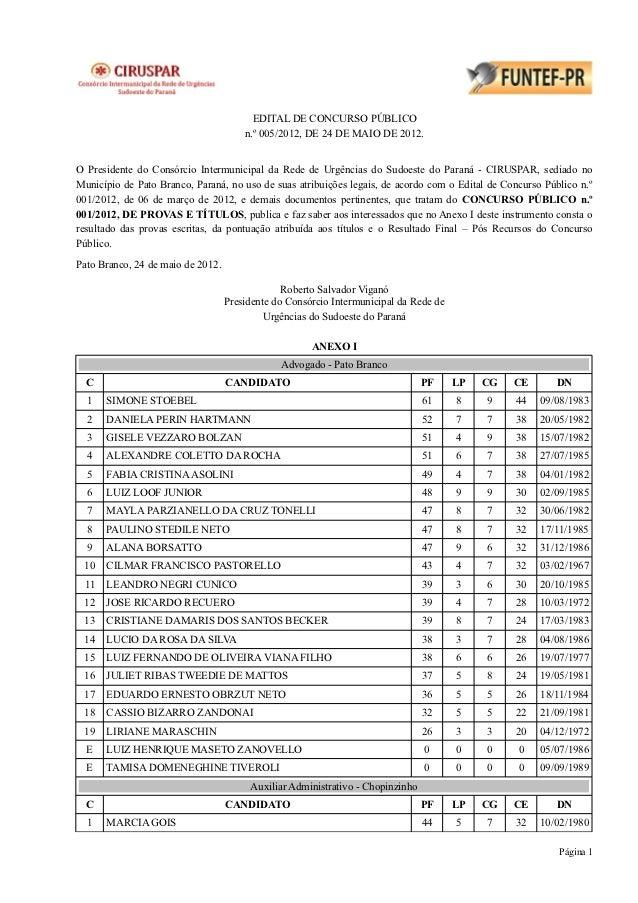 EDITAL DE CONCURSO PÚBLICO                                       n.º 005/2012, DE 24 DE MAIO DE 2012.O Presidente do Consó...