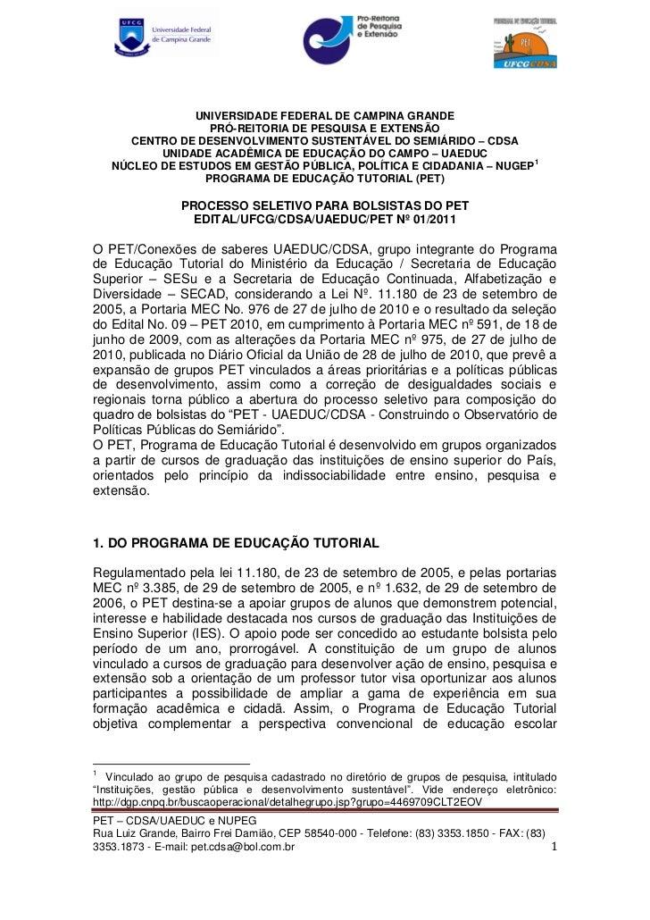 UNIVERSIDADE FEDERAL DE CAMPINA GRANDE                   PRÓ-REITORIA DE PESQUISA E EXTENSÃO       CENTRO DE DESENVOLVIMEN...