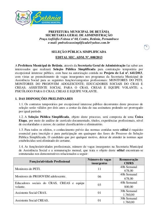 Edital de seleção assistência social programas. PREFEITURA MUNICIPAL DE  BETÂNIA SECRETARIA GERAL DE ADMINISTRAÇÃO ... 93a95bd1c39b1