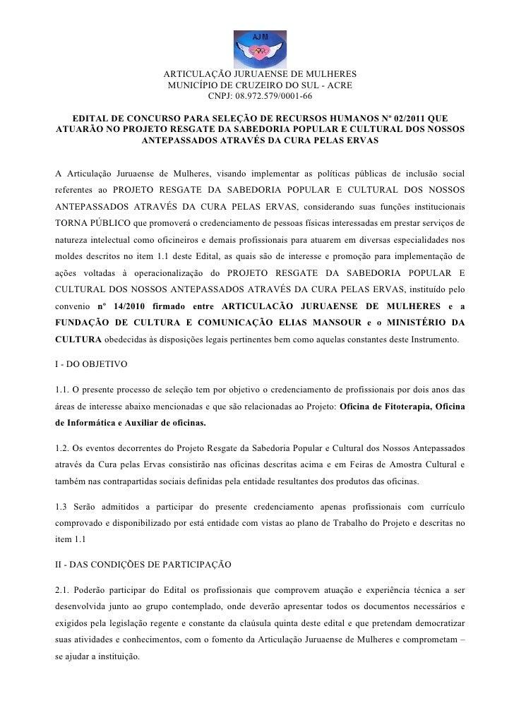 """Edital de Seleção dos Oficineiros 2011 """"Ponto de Cultura"""""""