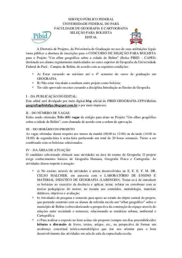 SERVIÇO PÚBLICO FEDERAL                        UNIVERSIDADE FEDERAL DO PARÁ                    FACULDADE DE GEOGRAFIA E CA...