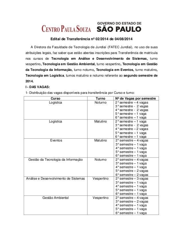 Edital de Transferência nº 02/2014 de 04/08/2014 A Diretora da Faculdade de Tecnologia de Jundiaí (FATEC Jundiaí), no uso ...