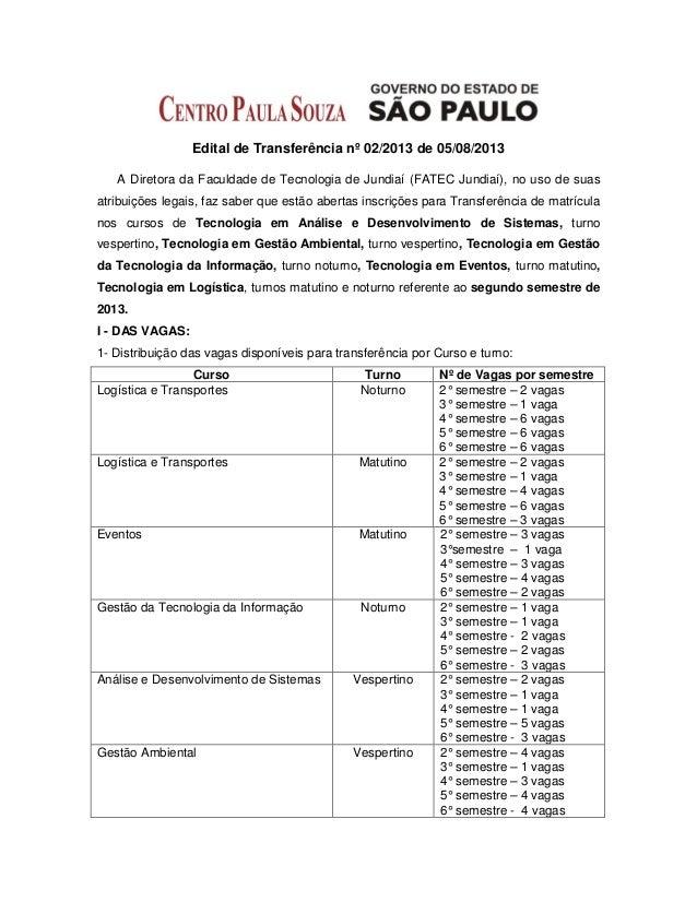 Edital de Transferência nº 02/2013 de 05/08/2013 A Diretora da Faculdade de Tecnologia de Jundiaí (FATEC Jundiaí), no uso ...