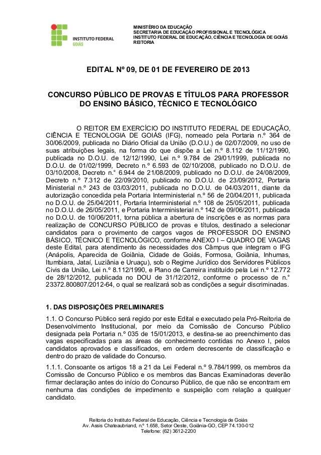 MINISTÉRIO DA EDUCAÇÃO                                  SECRETARIA DE EDUCAÇÃO PROFISSIONAL E TECNOLÓGICA                 ...