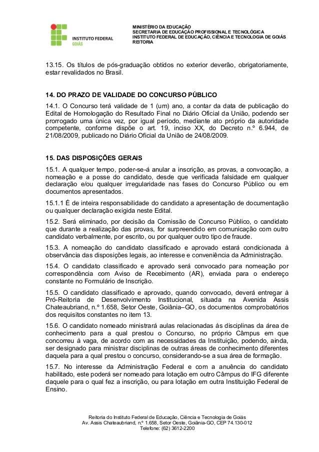 Edital docente ifg 2013 for Concurso docentes exterior
