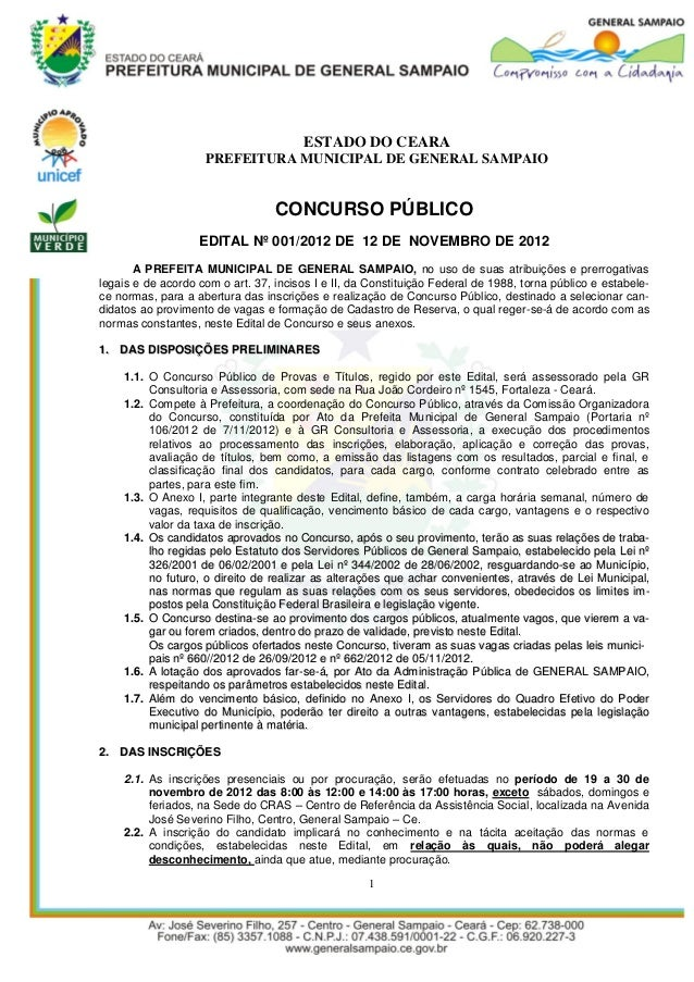 ESTADO DO CEARA                    PREFEITURA MUNICIPAL DE GENERAL SAMPAIO                                  CONCURSO PÚBLI...