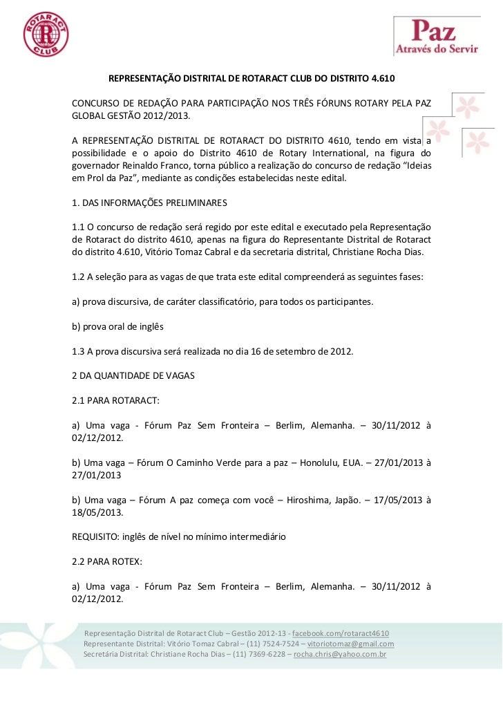 REPRESENTAÇÃO DISTRITAL DE ROTARACT CLUB DO DISTRITO 4.610CONCURSO DE REDAÇÃO PARA PARTICIPAÇÃO NOS TRÊS FÓRUNS ROTARY PEL...