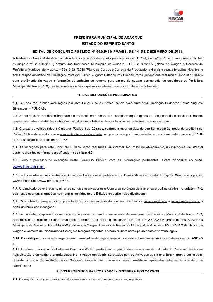 PREFEITURA MUNICIPAL DE ARACRUZ                                                ESTADO DO ESPÍRITO SANTO                 ED...