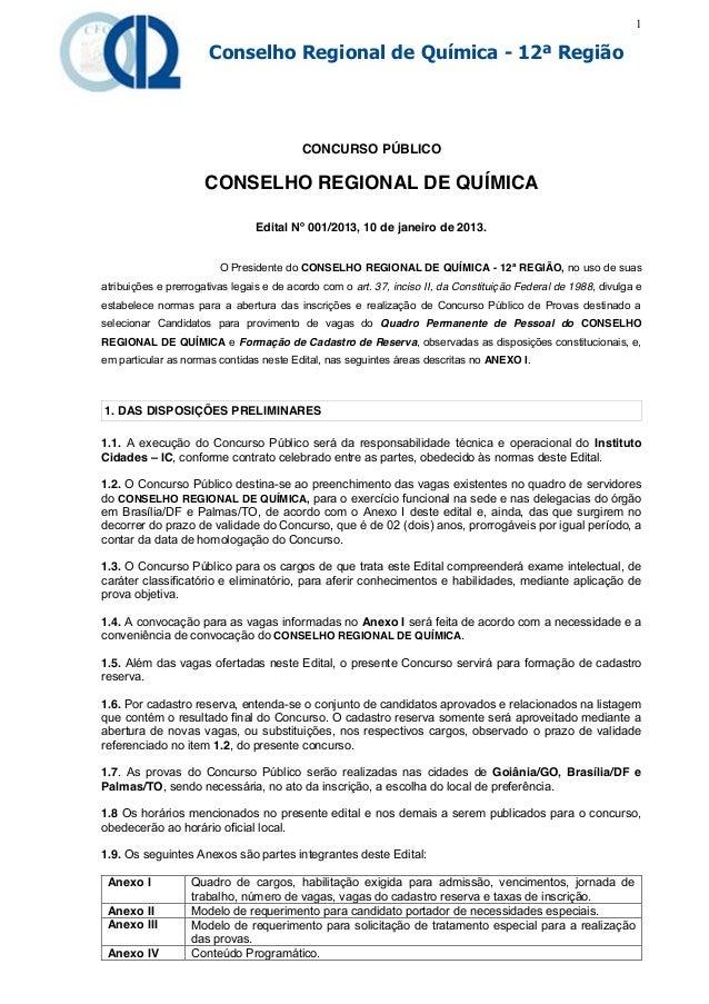 1                      Conselho Regional de Química - 12ª Região                                          CONCURSO PÚBLICO...