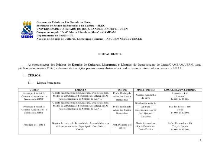 Governo do Estado do Rio Grande do Norte              Secretaria de Estado da Educação e da Cultura – SEEC              UN...