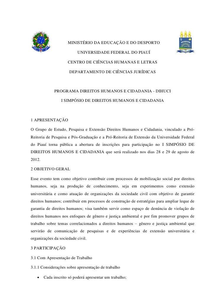 MINISTÉRIO DA EDUCAÇÃO E DO DESPORTO                           UNIVERSIDADE FEDERAL DO PIAUÍ                     CENTRO DE...
