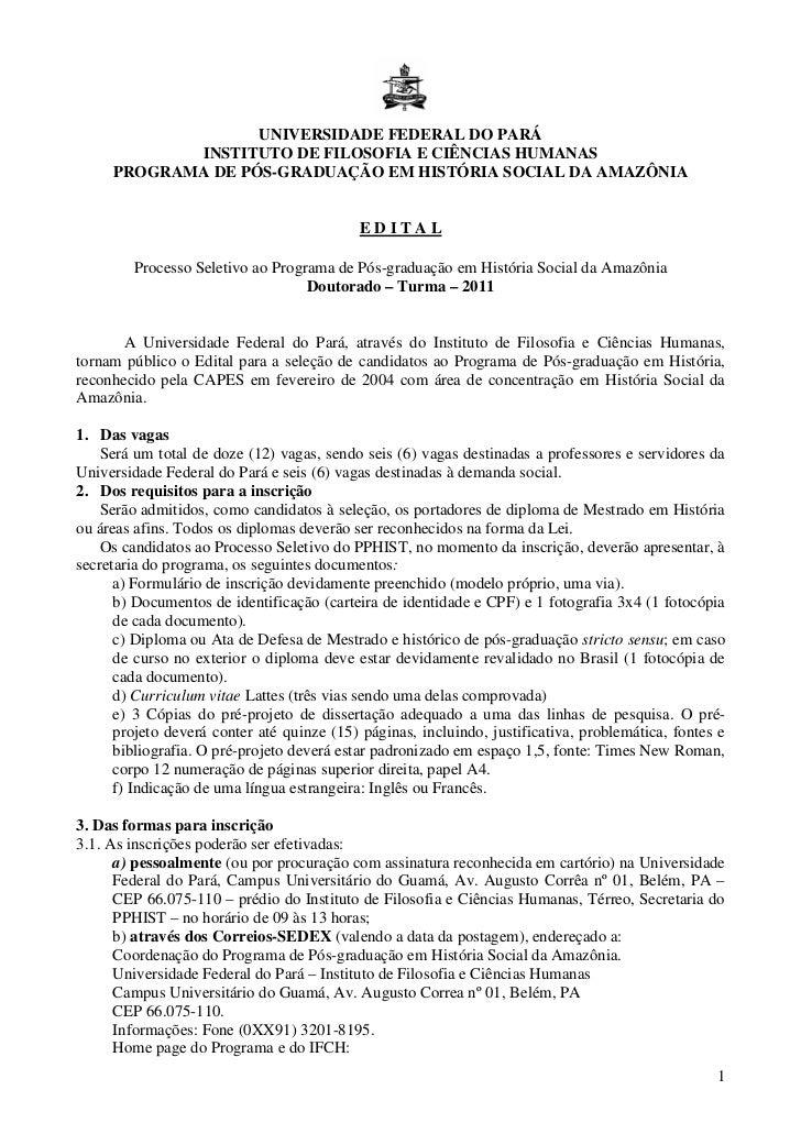 UNIVERSIDADE FEDERAL DO PARÁ            INSTITUTO DE FILOSOFIA E CIÊNCIAS HUMANAS     PROGRAMA DE PÓS-GRADUAÇÃO EM HISTÓRI...