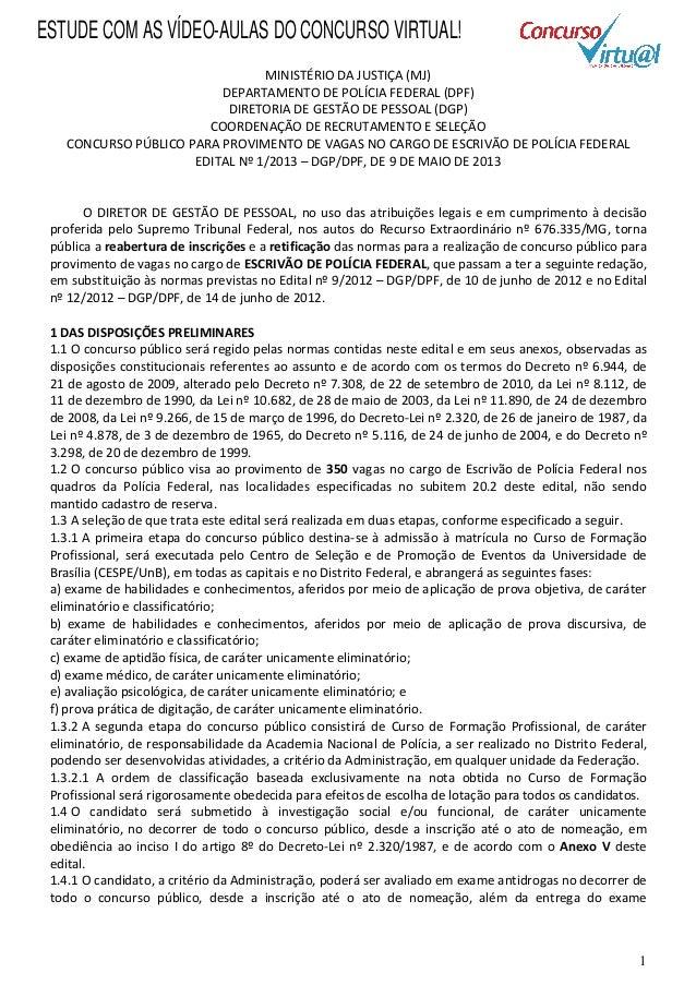 Edital concurso Escrivão da Polícia Federal - PF 2013