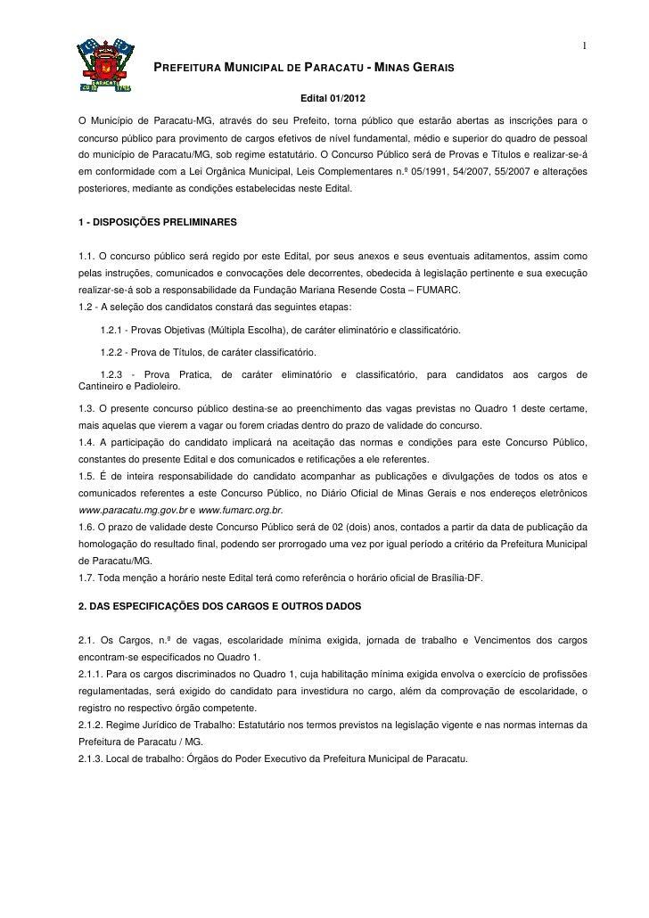 1                  PREFEITURA MUNICIPAL DE PARACATU - MINAS GERAIS                                                      Ed...