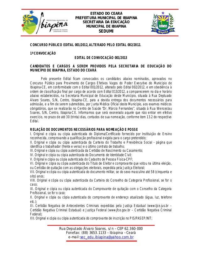 ESTADO DO CEARÁ                                 PREFEITURA MUNICIPAL DE IBIAPINA                                     SECRE...